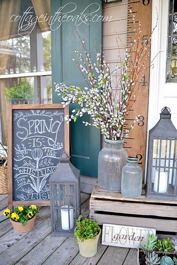 front porch decor lanterns, chalkboard, and antique glass porchscape POFXKKR