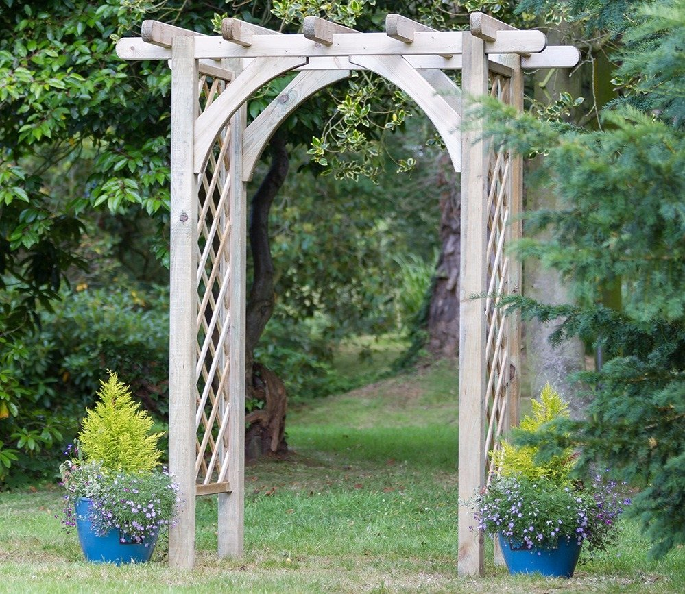 garden arches pergola timber roof with 12mm thick diamond trellis panel sides BJEOCBO