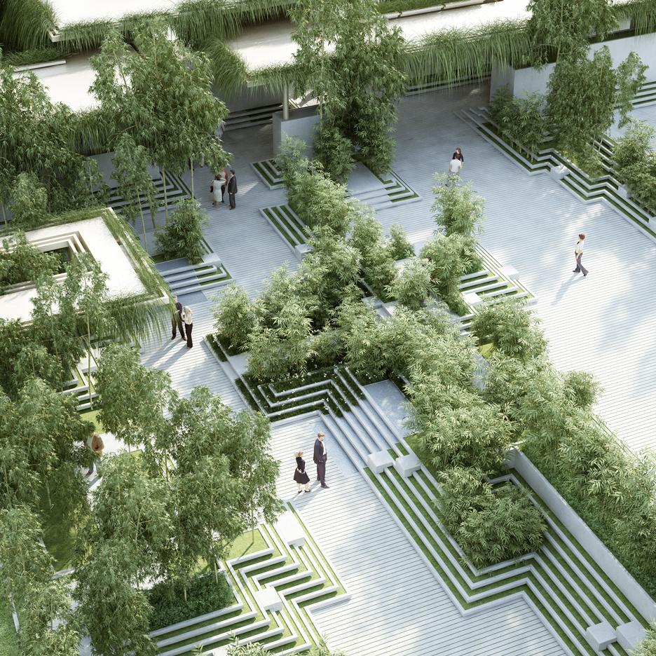 garden architecture penda combines stepwells with water mazes for garden design YSHOCRN
