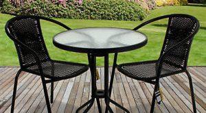 garden bistro sets rattan 3 piece glass table