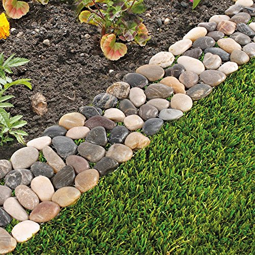 garden border edging pack of 8 garden flower bed edging strip pebble stone borders: SPSWRDQ