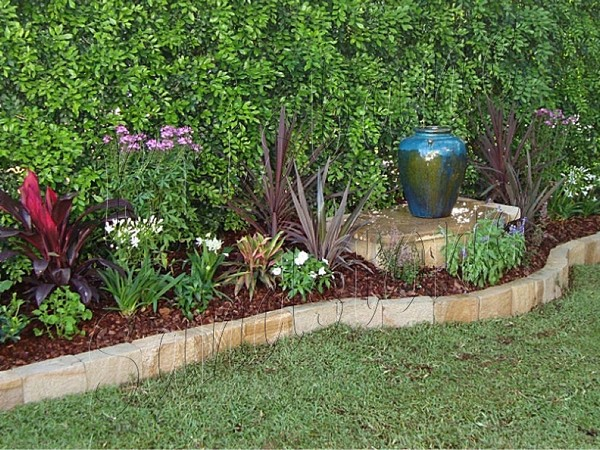 garden border edging sandstone garden edging ideas australia XEPPSAA