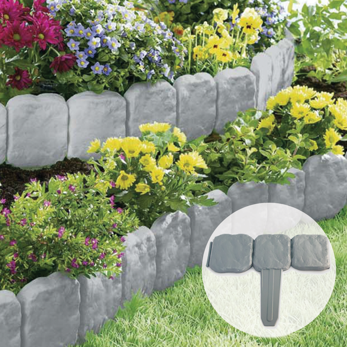 garden border edging sentinel grey stone slab effect garden border plastic edging flower bed UEXMQNI