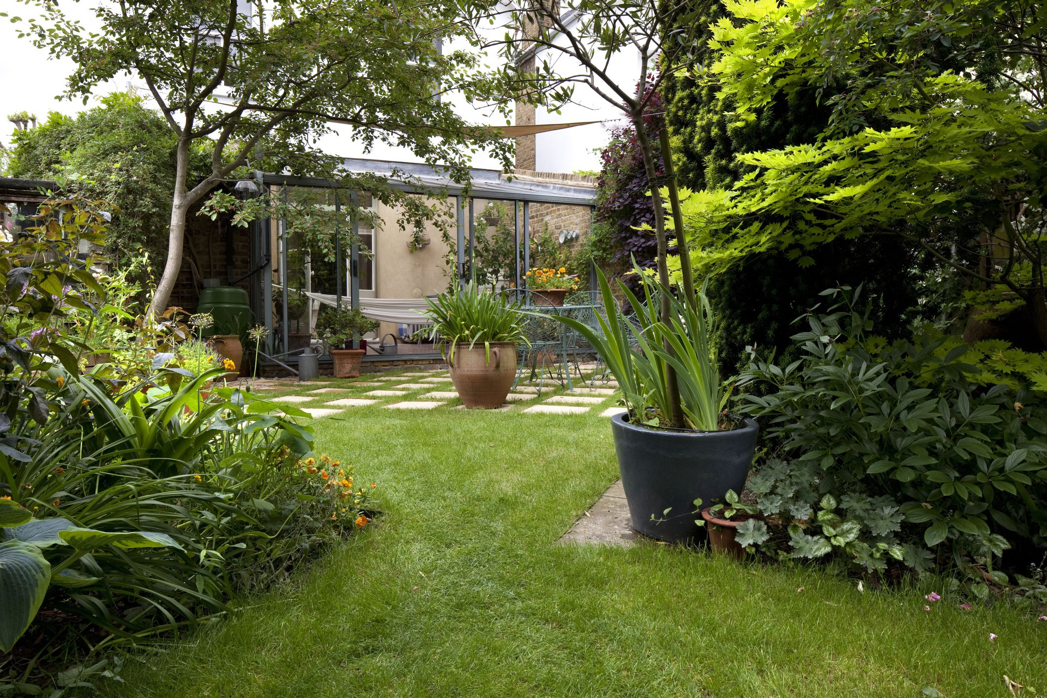 garden design ideas suburban garden and lawn, kingston upon thames, england, uk RDNGGRH