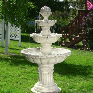 garden fountains dunkle fiberglass 4-tier electric water fountain