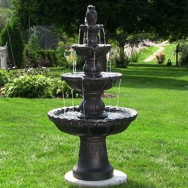 garden fountains sunnydaze 4-tier pineapple fountain, 52 inch