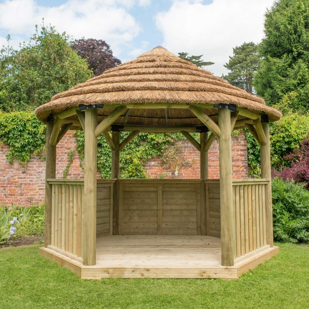 garden gazebo 3.6m hexagonal gazebo with country thatch roof MLFASEY
