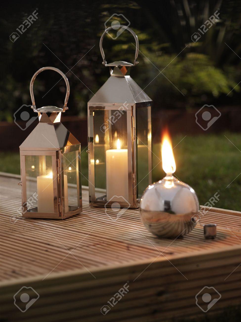 garden lanterns on a deck stock photo - 9856367 XWRUWZY