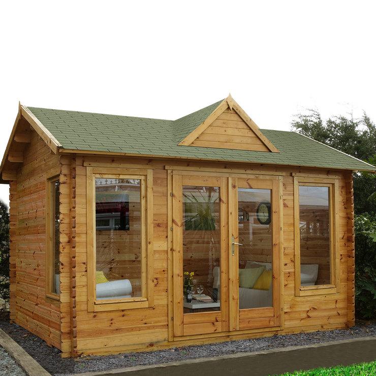 garden log cabins installed forest garden alderley 34mm