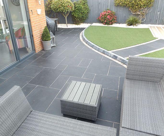 garden patio ideas carbon black limestone flagstones | modern patio | landscaping | #garden SHUTQDG