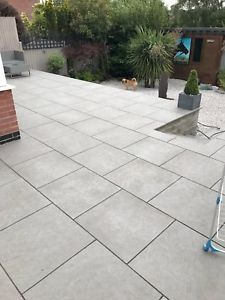 garden paving slabs image is loading dakota-grey-vitrified-porcelain-paving-garden-patio-slabs- IIGTPYO