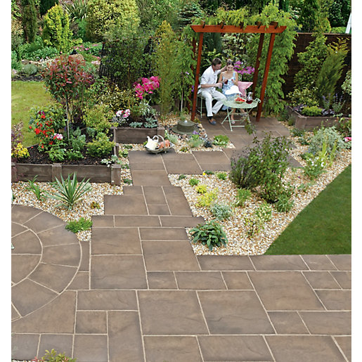 garden paving slabs marshalls heritage riven weathered yorkstone 600 x 450 x 38mm paving slab RTRBZLH