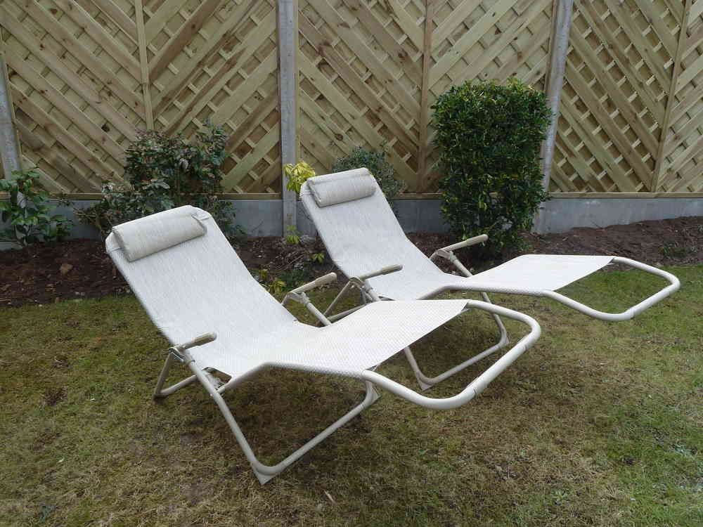 garden recliners set of 2 garden sun lounger chairs beige garden recliner relaxer chair VIPEXSZ