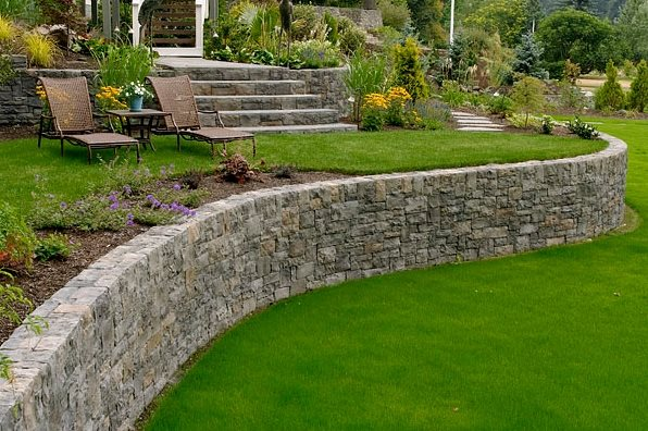 garden retaining wall curved retaining wall retaining and landscape wall big sky landscaping inc. MCVGDWS