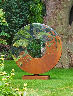 garden sculptures metal garden sculpture made from rusty oxidized steel and mirror polished DPBHMOQ