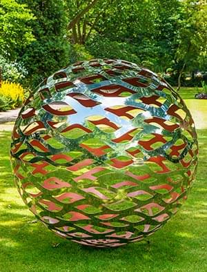 garden sculptures modern garden sphere made from a lattice of stainless steel with a VARIITG