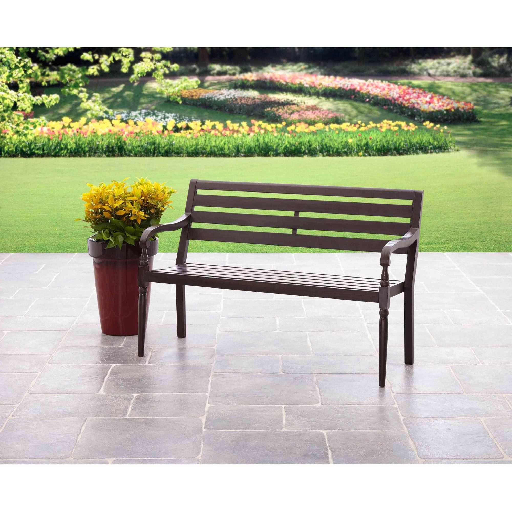 garden seat mainstays slat outdoor garden bench, black - walmart.com RLTZTFL