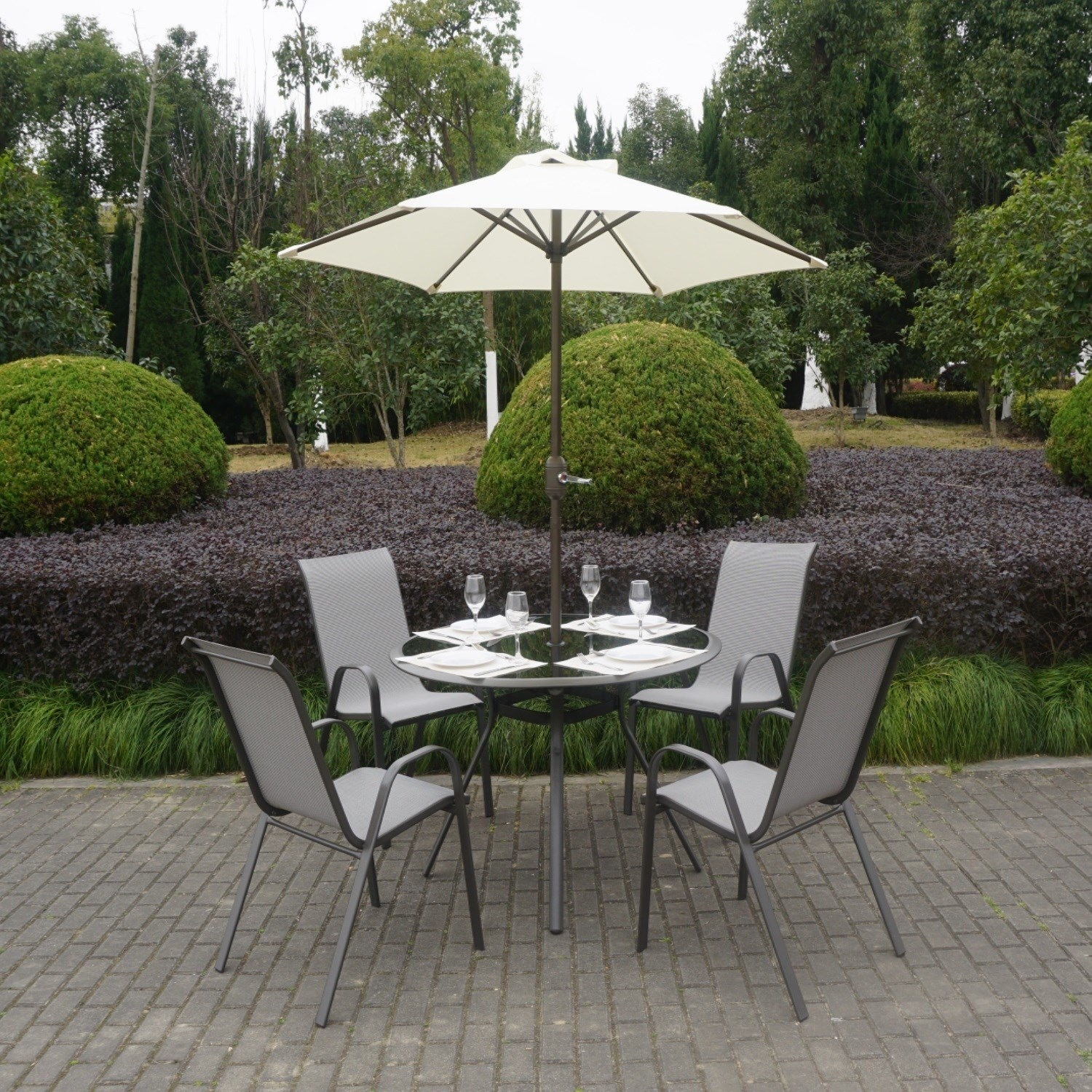 garden set grey metal 4 seater garden furniture