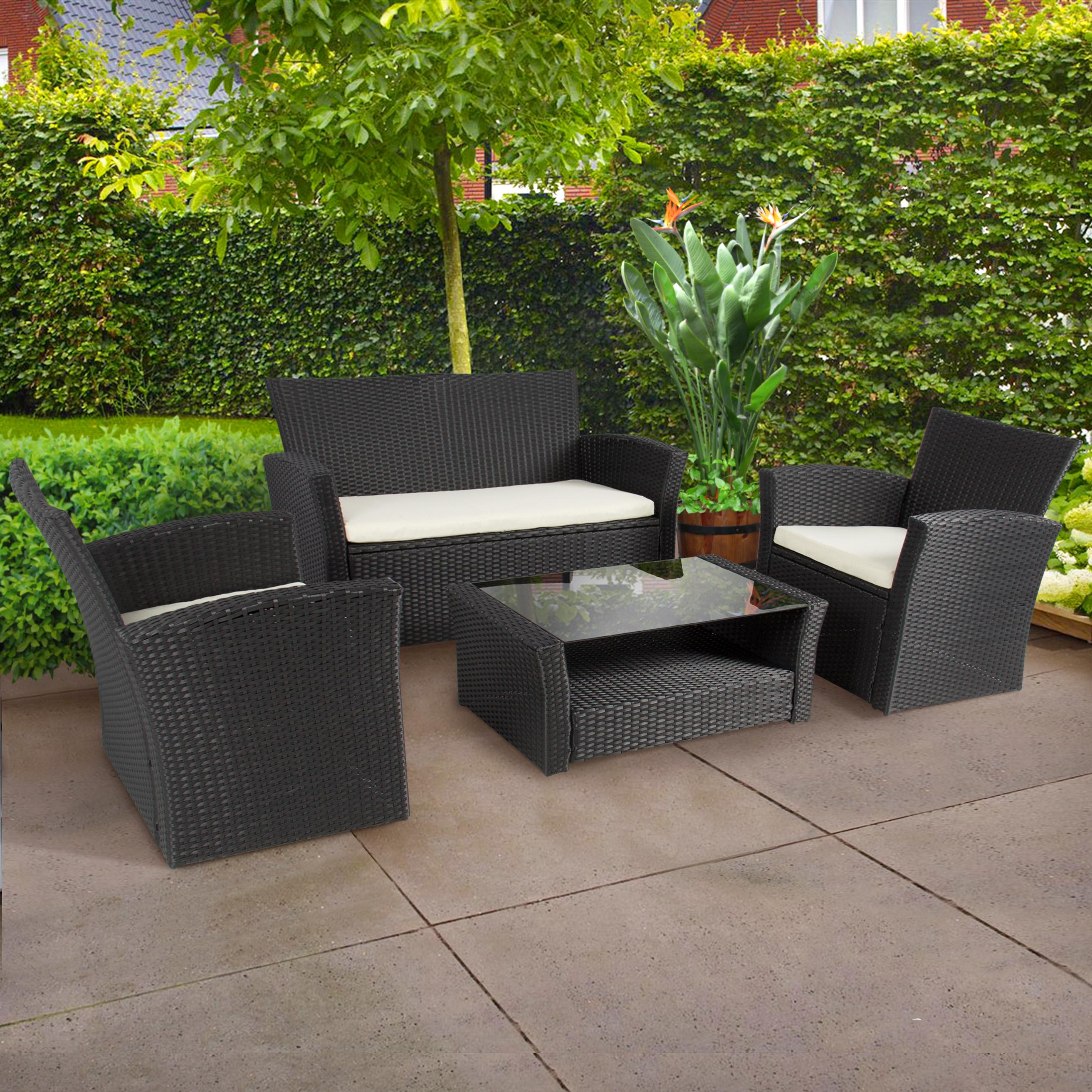 garden sets 4pc outdoor patio garden furniture wicker rattan sofa set black - HLSMRBN