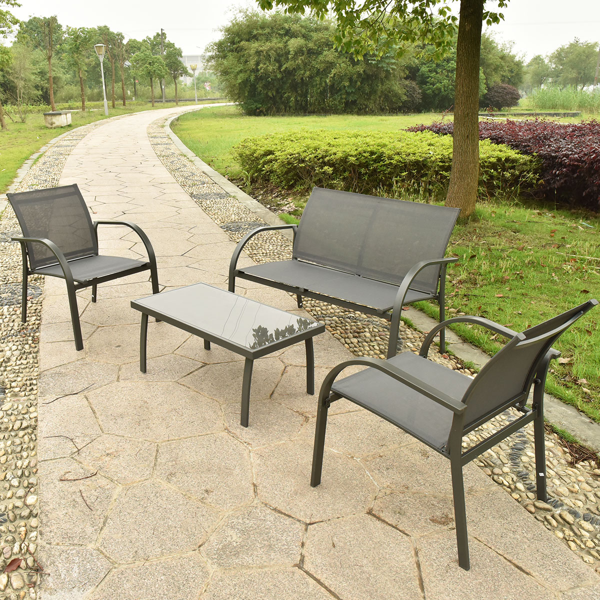 garden sets costway 4pcs patio garden furniture set steel frame outdoor lawn sofa OAFWVVR