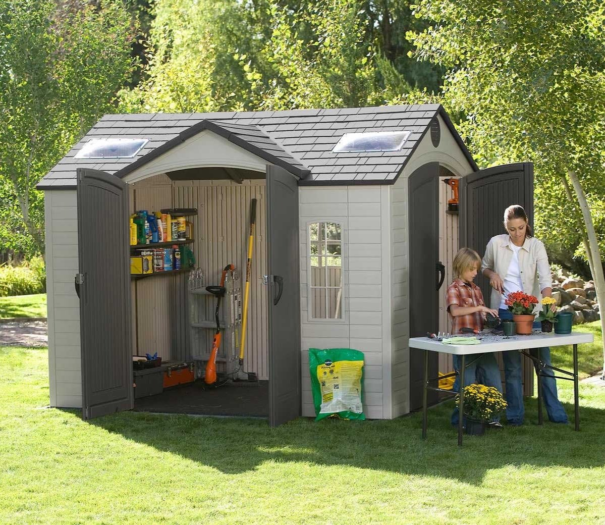 garden sheds lifetime 10ft x 8ft dual entrance shed AFDKTIJ