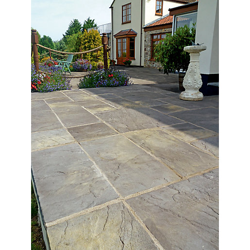 garden slabs marshalls heritage riven old yorkstone 300 x 300 x 38mm paving slab THCDKEZ