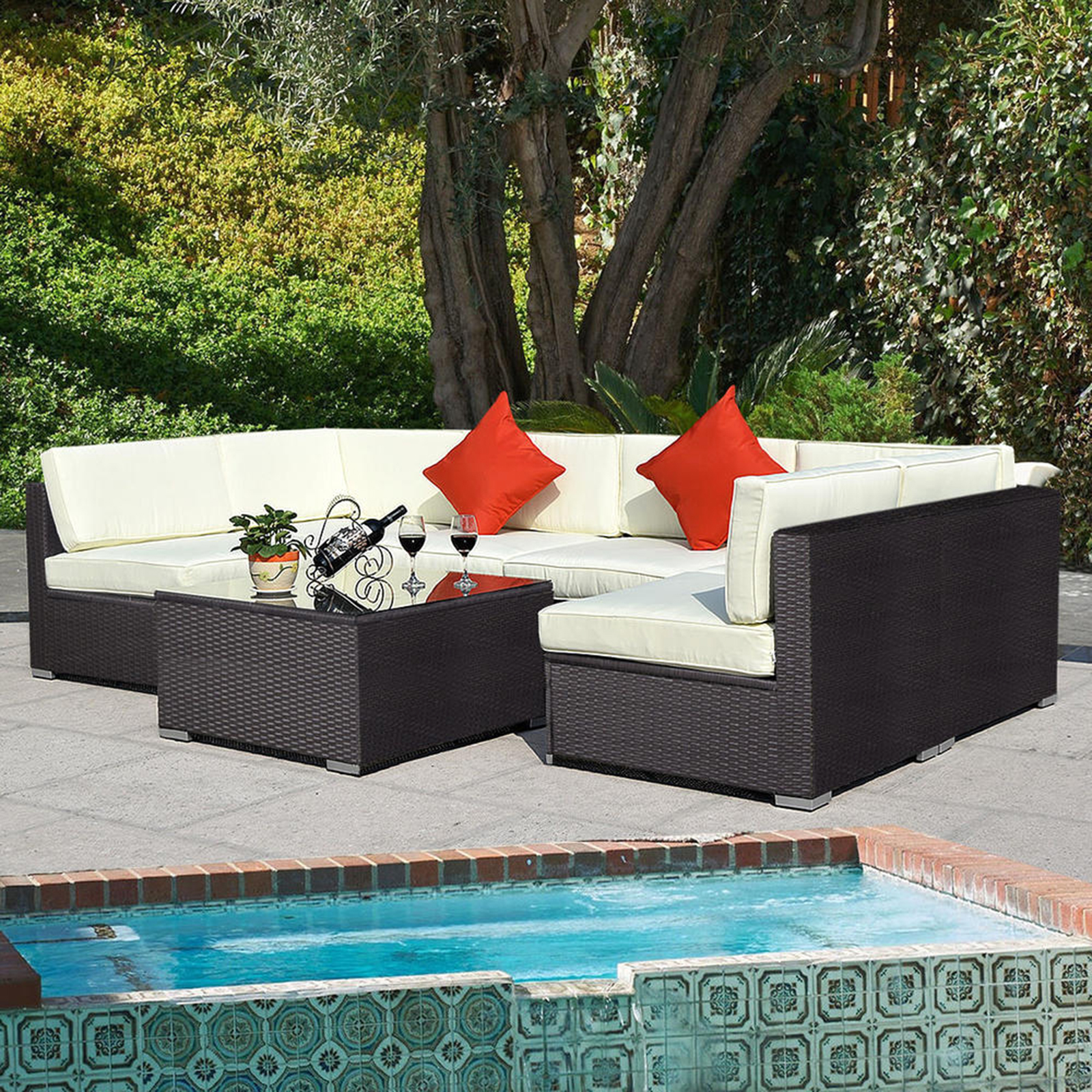 garden sofas goplus outdoor 7pc furniture sectional pe wicker patio rattan sofa set ABZBSUM