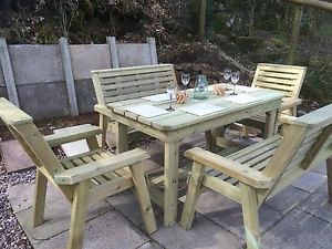 garden table and chairs image is loading wooden-garden-table-and-chairs-bench-set-patio-