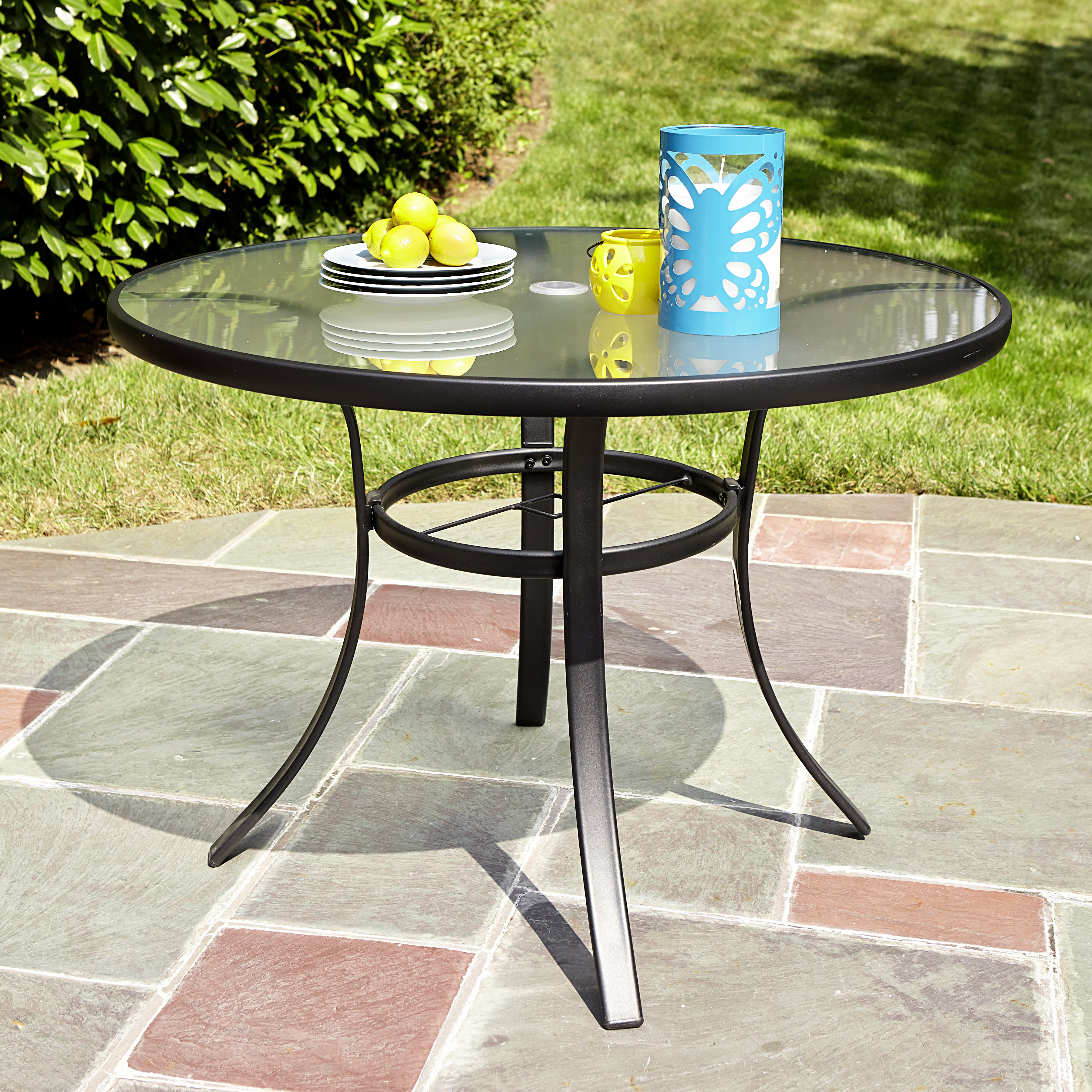 garden tables essential garden bartlett tempered glass dining table *limited availability QFQCNVO
