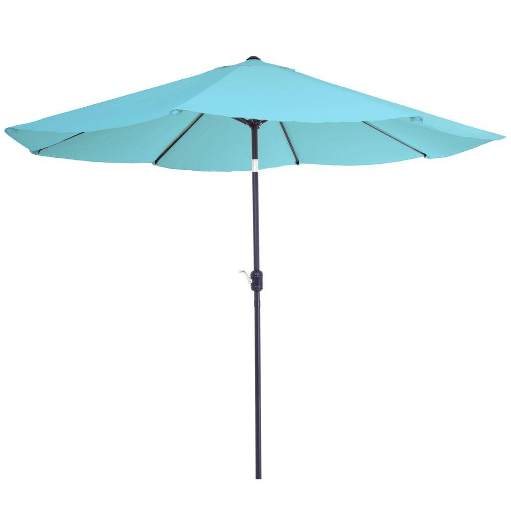 garden umbrella pure garden 10 ft. aluminum patio umbrella with auto tilt in blue UTACALT