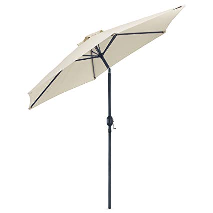 garden umbrella vonhaus 8.8 feet (2.7meter) steel powder coated ivory garden patio parasol DFIQIRZ