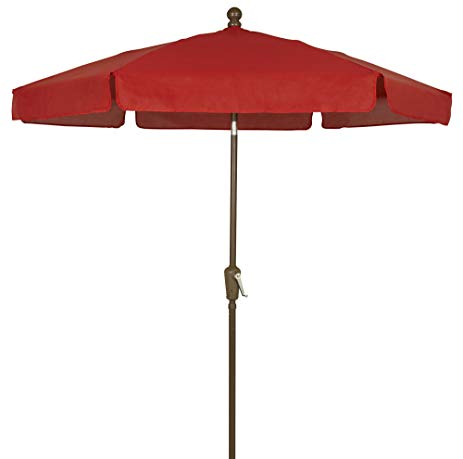 garden umbrellas fiberbuilt umbrellas garden umbrella, 7.5 foot red canopy and champagne  bronze MAMLGMI