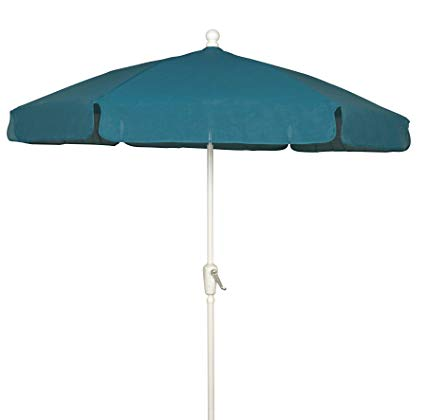 garden umbrellas fiberbuilt umbrellas garden umbrella, 7.5 foot teal canopy and white pole CHMFIVO