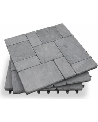 garden winds grey stone deck tiles - box of 10 ALOOHQE