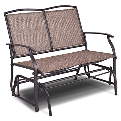 giantex patio glider bench outdoor, swing loveseat, patio swing rocker  lounge NSZXIDX