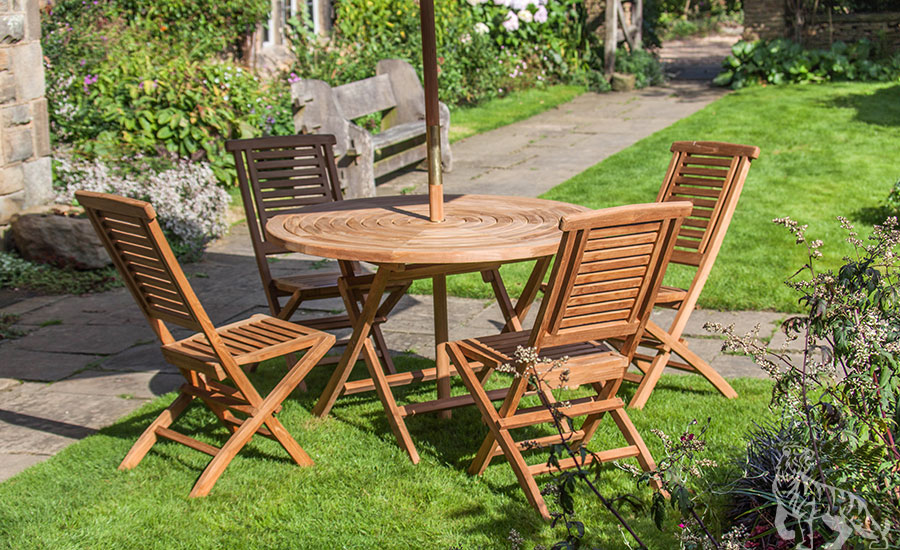 goodwood four seat teak table u0026 folding chair outdoor garden furniture set VZJLYUD