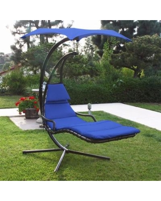 hammock with canopy patio swing chair lounger hammock sun canopy, blue XSEQOFT