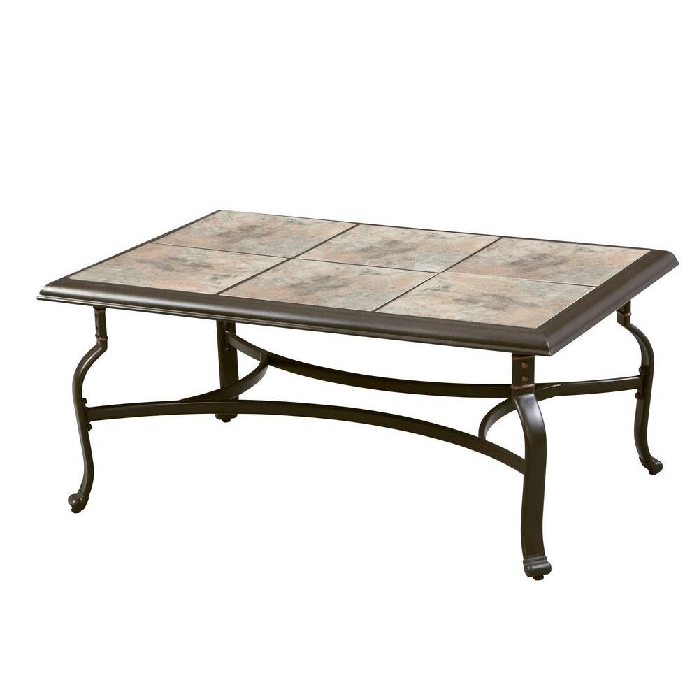 hampton bay belleville tile top patio coffee table CYXFWMN