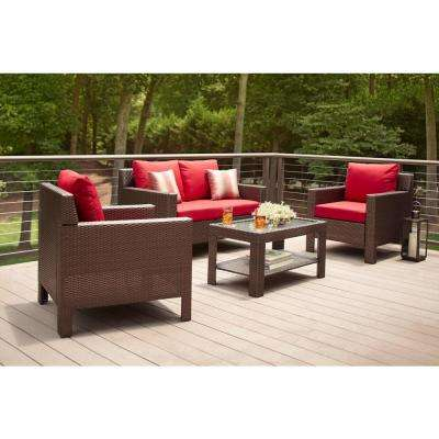 hampton bay patio set beverly 4-piece patio deep seating set with cardinal cushions DCGRUFJ