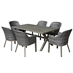 hampton bay patio set crown view 7-piece two-tone grey wicker u0026 steel patio set ... CRNJPUM