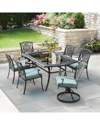 hampton bay patio set hampton bay belcourt 7-piece metal outdoor dining set with spa cushions DFCVMYH