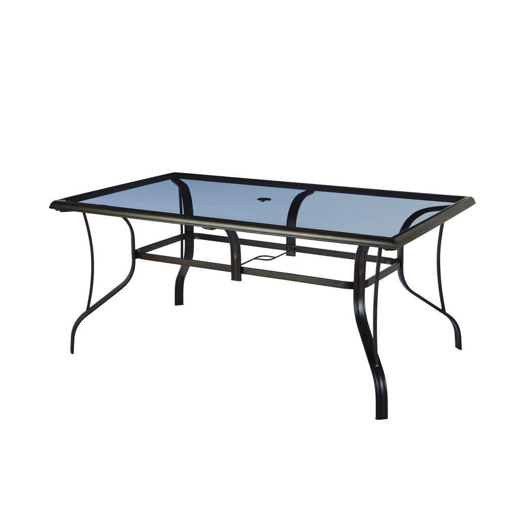 hampton bay statesville rectangular glass patio dining table OTESVID