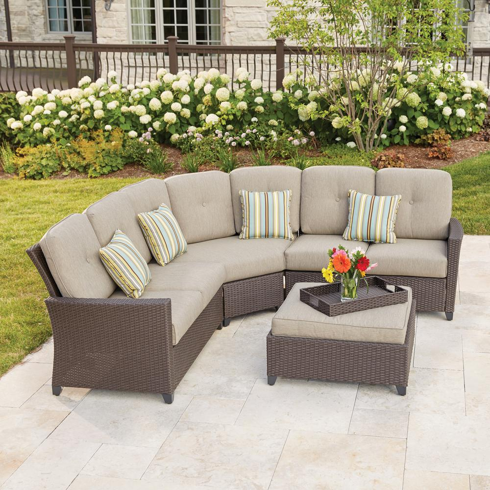 hampton bay tacana 4-piece wicker patio sectional set with beige cushions ISHTCJK