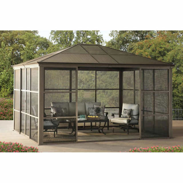 hard top gazebo 12 x 14 hardtop gazebo metal steel aluminum roof post outdoor for XZNLCOU