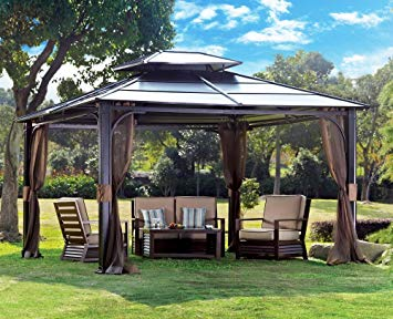 hard top gazebo amazon.com : sunjoy 10 x 12 chatham steel hardtop gazebo : garden TCTESKU