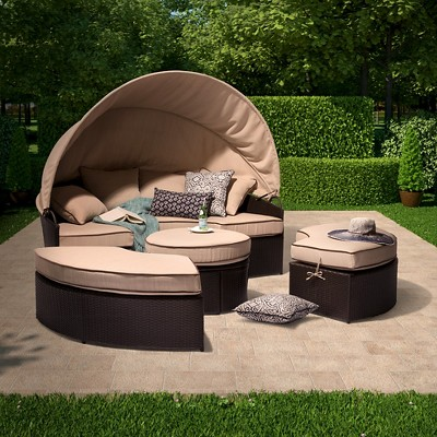harrison 4-piece all-weather wicker patio daybed with canopy set ZYZACAQ