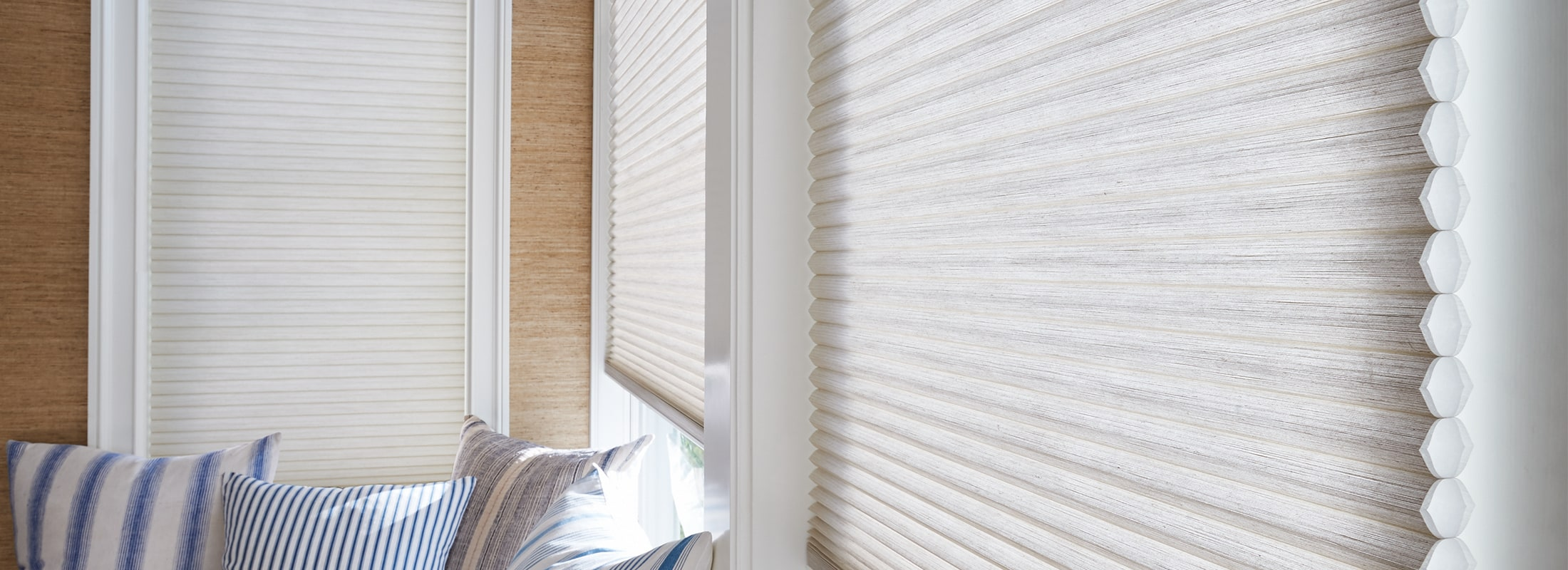 honeycomb shades cellular shades in architella alexa desert sands - duette with closeup ... NHNEXUI