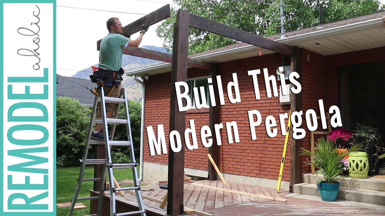 how to build a pergola on a deck: diy modern pergola tutorial TOUWVDG