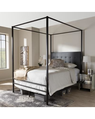 industrial black canopy bed by baxton studio (queen