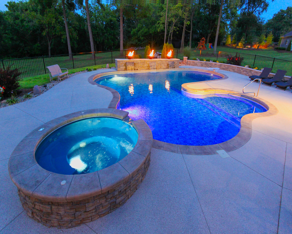 inground pools 59 - custom lagoon with spillover spa OZWUWSV